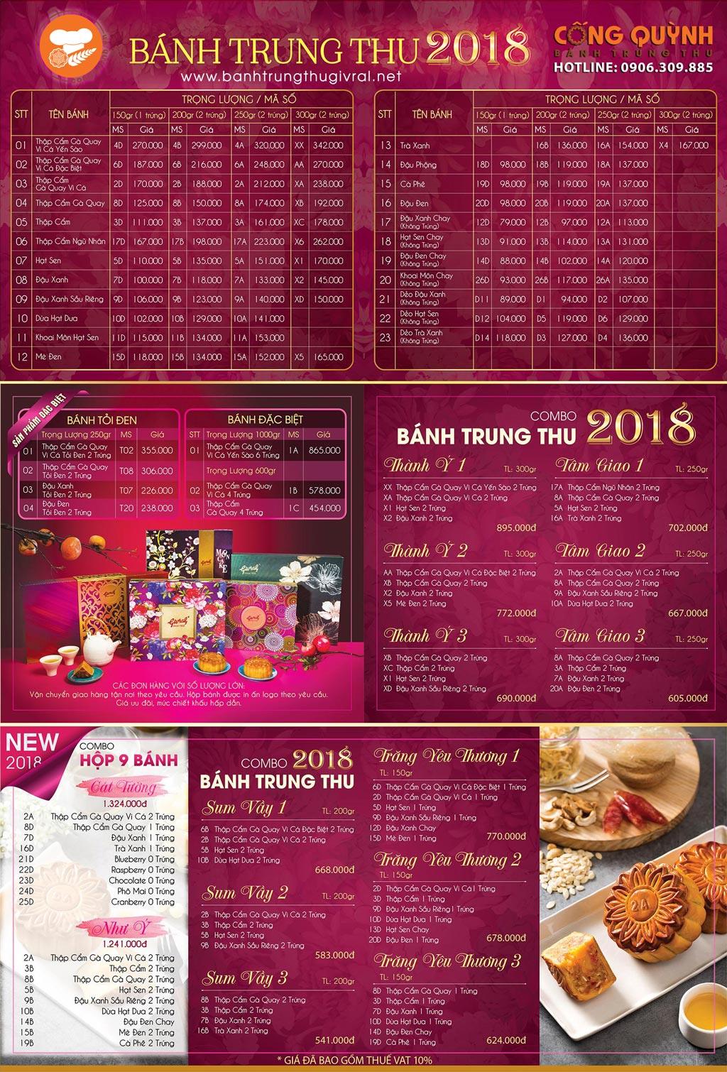 Bảng giá bánh trung thu givral 2018